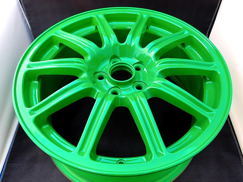 スバルSTI純正ホイールのホイール修理&カラーチェンジ(グリーン塗装)